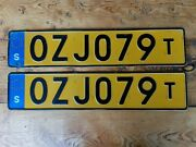 Sweden License Plate Yellow Taxi Pair Ozj 079 T