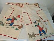 Pair Vtg Couples 50's Cloth Aprons Cooking Bbq Dog Stealing Dinner Gag Kitschy