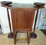 Wood Cabinet Altar With Freestanding Candle Holders Unknown Source Or Religion