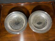 Ellis Barker Silver Plated Footed Bowls 9 1/2 Pierced With Scrolls Stunning