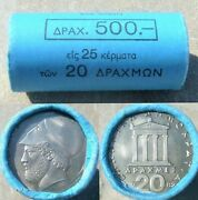 Greece 20 Drachmas 1982 Official Roll Of 25 Coins Km 133 Pericles Bu Scarce