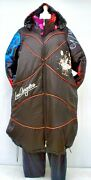 Plus Size Black/multicoloured Quilted Hooded Coat With Lining Bust 52-56xl-xxl
