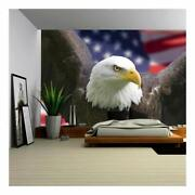 Digital Art Wall Decals Eagle Over American Flag Mural Vinyl Wall Decals 2 Sizes