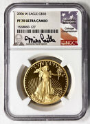 Mike Castle Signed 2006 W Gold Eagle G50 Ngc Ms 70 Ultra Cameo