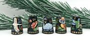 Collectible Handmade Thimbles Set With 5 Wood Hand Painted Owl Swan Birds