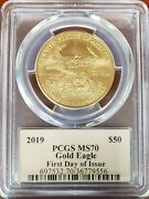 2019 Pcgs Ms70 50 Gold Eagle Thomas Cleveland First Day Issue Pop Only 8 Coins