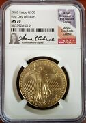2020 50 Gold Eagle Ngc Ms70 Anna Cabral Hand-signed Pop Only 16 Coins