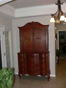 Cherry Early 1800and039s Large Cabinet On Frame With Chip Carving And Inlay