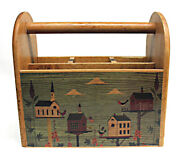 Vintage Silverware Utensil Holder Farmhouse Country Wood Cookout Caddy Birdhouse