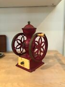 Hand Crank Double Wheel Manual Red Cast Iron Coffee Bean Grinder Mill Antique W