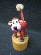 Vtg Wood Push-up Thumb Push Puppet Red Pink Dog Made In Italy