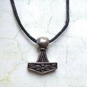 New Asgard Pewter Viking And039hammer Isand039 Danish Thor Hammer Pendant Cord Necklace