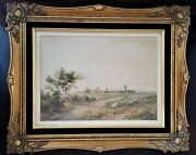 Watercolor Farm Landscape On Paper C Pyne Charles Pyne England 19th C 21w