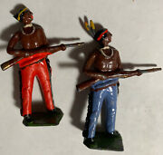 Lot Of 2 Antique Toy Lead Figure Native American Indians W/ Rifles 04-45