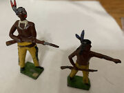 Lot Of 2 Antique Toy Lead Figure Native American Indians W/ Rifles 04-42
