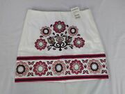 Bebe Embroidery Mini Skirt Size 4 White Floral Spring Summer Country