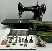 Fine Vintage 1955 Singer 221 Featherweight Sewing Machine, Case And Accessories