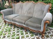 Large Antique French Mid-1900and039s Black Forest Couch Sofa Woodwork Alsacian