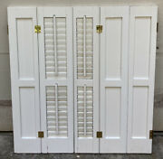 33 Tall Salvaged Antique Wood Interior Louver Plantation Window Shutters Vtg