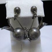 Vintage Mexico Sterling Silver Water Pitcher Screw Back Earrings As Is 10g J798