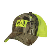 Caterpillar Cat Equipment Realtree Ap Neon Green And Camouflage Mesh Twill Cap/hat