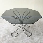 1970s Mid Century Modern Octagonal Smoked Glass Top Chrome Base Table
