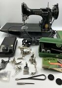 Fine Vintage 1957 Singer 221 Featherweight Sewing Machine, Case And Accessories