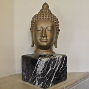 Buddha Bust Unique Large Cast Bronze Gilded Sculpture With Marble Base