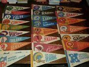 Lot Of 25 Vintage Nfl Mini Pennants 9  60's, 70's  Packers, Steelers, Chiefs