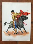 Two Vintage Matador Bull Fight Watercolor Paintings Signed By Artist