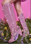 Sold Out Pink Knee High Rhinestone Sheriff Shine Cowboy Boots Size 8