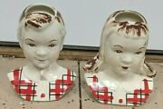 Antique Stanford Pottery Sandy And Jean Wall Pockets Mid-century Decor 1950and039s Rare