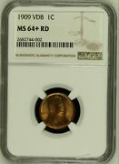 1909 Vdb Lincoln Cent Ms64+rd Wheat Penny Ngc Red Choice Uncirculated