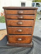 Antique Oak Country Store Hardware Cabinet 5 Drawers Cupboard Counter Top