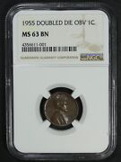 1955 Ddo Doubled Die Obverse Lincoln Wheat Copper Cent Ngc Ms 63 Bn