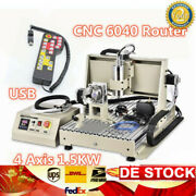Usb 4 Axis 6040 Cnc Router Engraver Vfd Wood Milling Machine 1.5kw+controller
