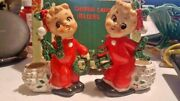 Vintage 1950and039s Noel Christmas Candle Holders Figurines Japan Commodore Box Label