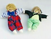 2 Vintage Clown Sand Dolls Porcelain Face Collectible Display Sitting Male Boy