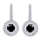 4.5 Ct Round Black Moissanite Sterling Silver Lever Back Halo Drop Earrings