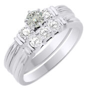 6 Ct Round Genuine Moissanite Three Stone Bridal Set Ring In Sterling Silver