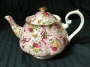 Royal Albert Old Country Roses Bows Ruby Celebration Pink Chintz Teapot 2001