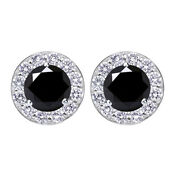 Sterling Silver 4.5 Ct Black Moissanite Halo Stud Earrings With Screw Back