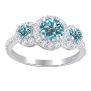 1.25 Ct Round Light Blue Moissanite Three Stone Halo Bridal Ring Sterling Silver