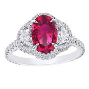 2.69 Ct Ruby And Half Moon Simulated Diamond 14k White Gold Halo Engagement Ring