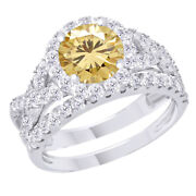 Sterling Silver 2.25 Ct Golden Moissanite Engagement Bridal Set Ring Jewelry