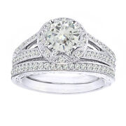 4 Ct Genuine Moissanite Vintage-style Bridal Set Ring In Sterling Silver