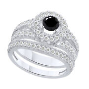 3.25 Ct Round Black Moissanite Bridal Engagement Rings In Sterling Silver