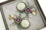 Authentic Earrings Spiders Pendants Pearls Gg Logo Crystal Embroidered Set