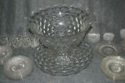 Fostoria American 18 Glass Punch Bowl 19 Base Plate And Stand 30 Plates14 Cups