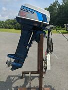 Tohatsu Nissan 18 Hp 20 Outboard Motor W/ Controls And Ignition Electric Start